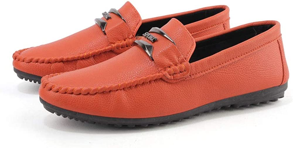 Color : Orange, Size : 8.5 D HYF Man Driving Loafer Casual Leather Soft Sole Breathable Lazy Person Leisure Boat Formal Shoes Men Business Shoes for Men M US