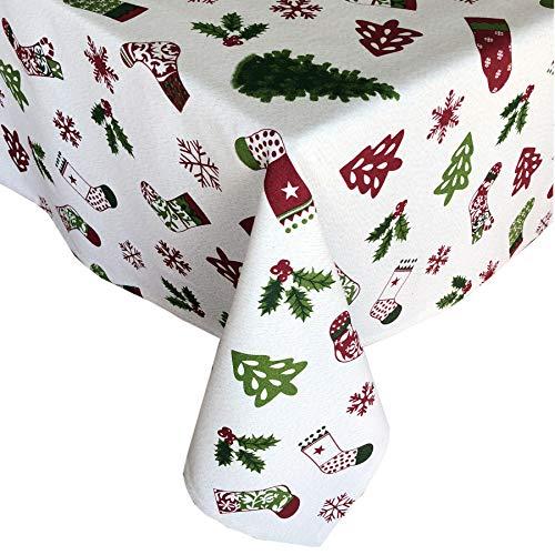 Lintex Christmas Stockings Metallic Holiday Fabric Tablecloth, 100% Cotton, Christmas Novelty Metallic Print Tablecloth, 70 Inch Round ()