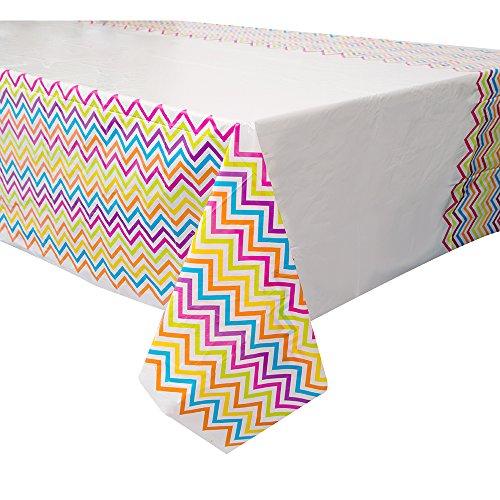 Rainbow Chevron Plastic Tablecloth 84