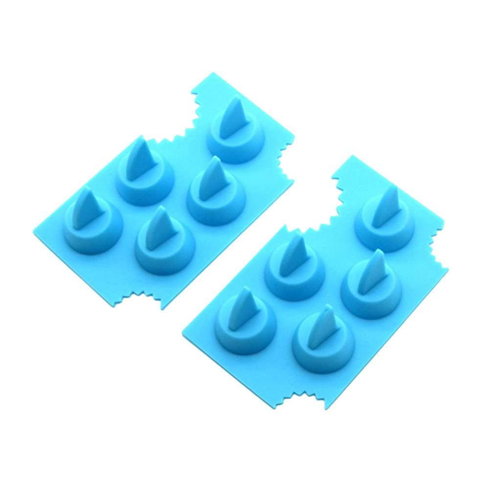 BESTONZON 2pcs Shark Fin Chocolate Jello Mould Novelty Silicone Shark Ice Cube Tray Freeze Maker and Fondant Baking Mold(Sky-blue)