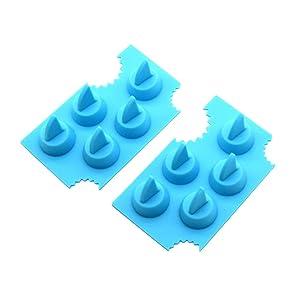 BESTONZON 2pcs Shark Fin Chocolate Jello Mould Novelty Silicone Shark Ice Cube Tray Freeze Maker and Fondant Baking Mold(Sky-blue)