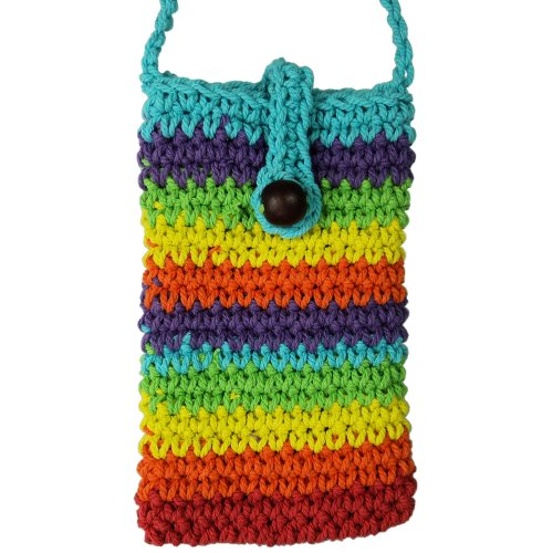 Souvenir Multi Color Handmade Crochet Knit Mobile, Cell Phone Pouch Purse Bag