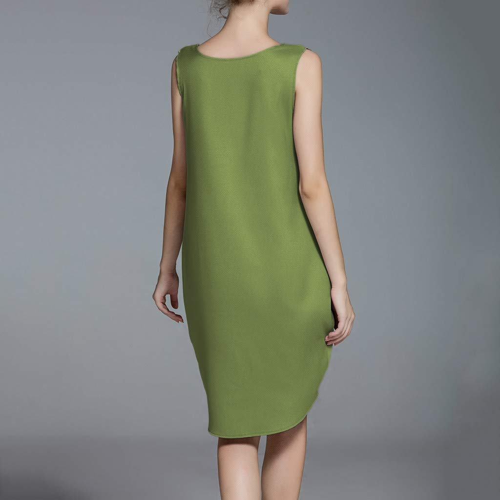 Sleeveless Dress,Youngh Summer Women Casual Sleeveless Tank V Neck Loose Beach Holiday Dress Green by Youngh Dress (Image #4)