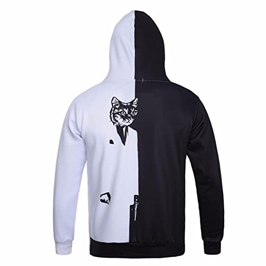 WM & MW Mens Hoodies Novelty Long Sleeve Black and White Pussy Cat Printed Hooded Sweatshirt Pullover Shirt Tops at Amazon Mens Clothing store:
