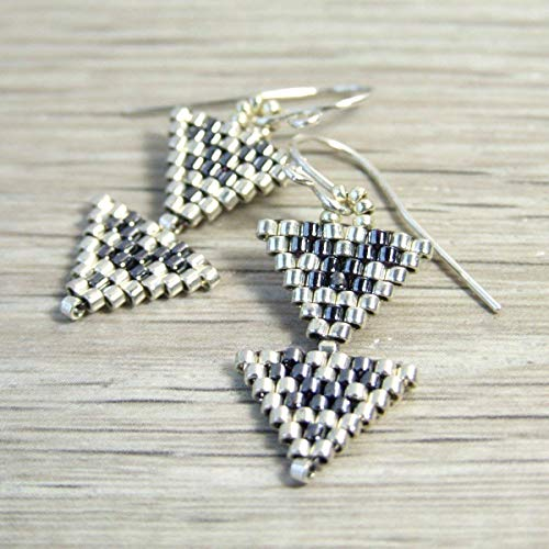 Small Grey Double Triangle Seed Bead Boho Beaded Dangle Drop Unique Glass Earrings - Handmade Sterling Silver Modern Everyday Jewelry for Women - Gifts for Her