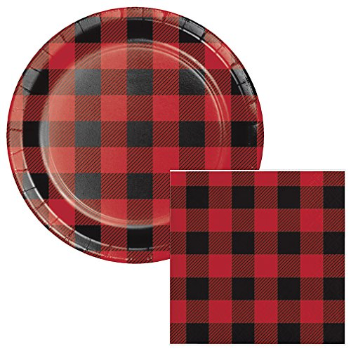 Buffalo Plaid Dessert Plates & Napkins Party Kit for 8