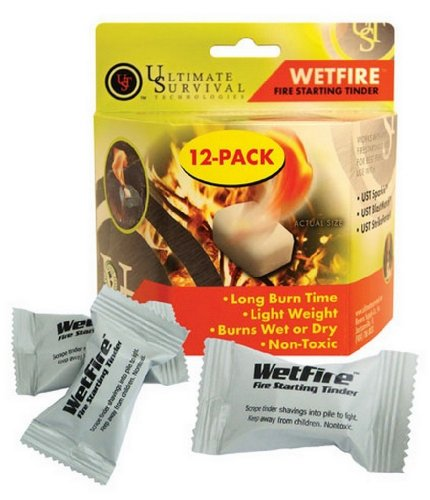 Wetfire Fire Starting Tinder Long Burn Time, Non-Toxic, Burns Wet or Dry Fire Starter - 24 Packets by Ultimate Survival Technologies UST