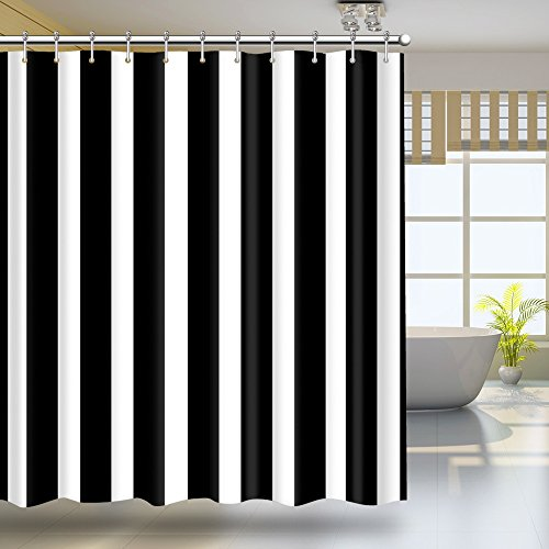 HILLPOW Waterproof Classic Black and White Stripes Theme Shower Curtain Sets for Bathroom with Stainless Steel Hooks 150cm X 180cm (Black And White Bathroom Accessories Sets)
