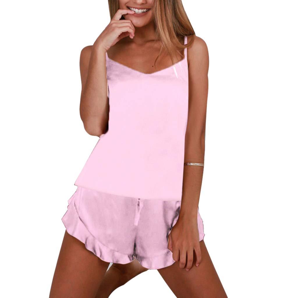 YOMXL Sling Satin Silk Pajamas Set,Women Sexy Lingerie Strap Cami Crop Top + Ruffle Hem Shorts Two Pieces Jumpsuit Outfits