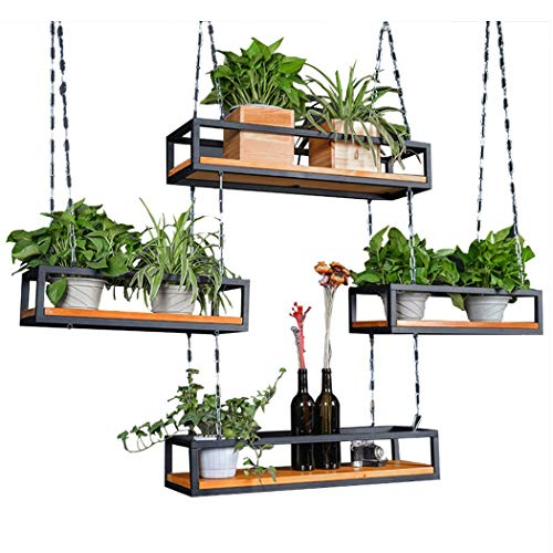(YONGYONG American Balcony Hanger Simple Chain Ceiling Hanging Vintage Wrought Iron Flower Stand Hanging Wood Hanger (Size : 2002515 Single Layer))