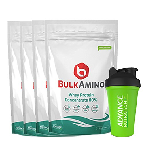 Bulkamino Whey Protein Concentrate 80 % Raw Protein 4 Kg (Free Shaker) (8.8 Lbs)[4X 1Kg] Supplement Powder(Pack Of 4) by ADVANCE NUTRATECH