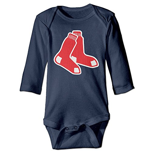 PGiG Baby's Red Sox Hanging Bodysuit Romper Playsuit Outfits Clothes Climbing Clothes Long Sleeve Navy