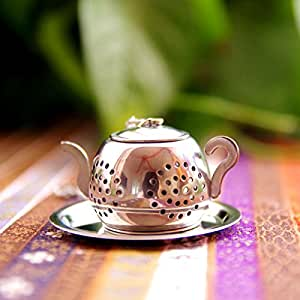 Stainless Steel Teapot Shape Tea Leaf Infuser Spice Loose Strainer Herbal Filter