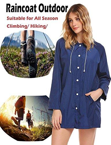 FISOUL Womens Raincoats Waterproof Lightweight Hooded Active Outdoor Rain Jacket by FISOUL (Image #6)