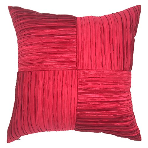 YOUR SMILE Solid Color Silk Throw Pillow Cases Decorative Cushion Cover 18x18 Inches (Red) (Throw Silk Cushion)