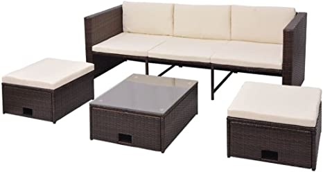 mewmewcat 12 Piezas Conjunto de Sofa Muebles de jardín Sofás de Ratán Marrón: Amazon.es: Deportes y aire libre