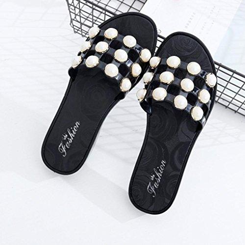 Sandalias de la moda de la perla,Tefamore Mujer zapatos planos vendaje Bohemia ocio sandalias de señora Peep-Toe zapatos al aire libre Negro