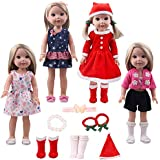 14inch Santa Outfit doll Costume Christmas Dress up Clothes - Including 4sets of complete doll costume + 1 pair of hair terry +1 hair band +1 bracelet accessories fit American Girl Wellie Wishers doll