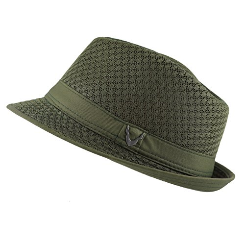 THE HAT DEPOT 200G1015 Light Weight Classic Soft Cool Mesh Fedora Hat (L/XL, Olive_BH)