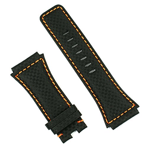 Black-Carbon-Fiber-with-Orange-stitch-Watchband-for-Bell-Ross-Dive-Watch-BR02-LARGE