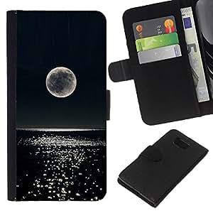 Luna de la noche del brillo del agua del océano- la tarjeta de Crédito Slots PU Funda de cuero Monedero caso cubierta de piel Para Samsung ALPHA G850