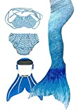Little Girl's Sparkle Mermaid Tail with Monofin Swimmable Swimwear 4pcs Set Bikini Swimsuit (water blue, 12(130-140cm))