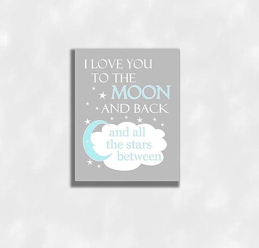 Amazon.com: Blue Canvas Baby Boy Nursery Wall Art Love You To The ...