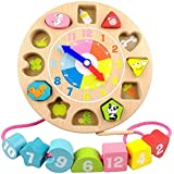 General Wooden Shape Sorting Teaching Clocks Educational Lacing Beads Toys for Preschool Age Kids Toddlers(B)