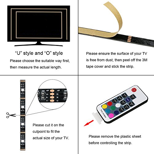 LED Strip Lights, USB TV Backlight Kit RGB Bias Lighting with Remote(78inch/2m), Ambient Home Theater Light, Accent Lighting to Reduce Eye Strain and Increase Image Clarity by Searik (Image #1)