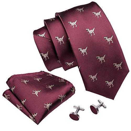 Burgundy Tie Set Silk Tie Pocket Square Cufflinks Dinosaur