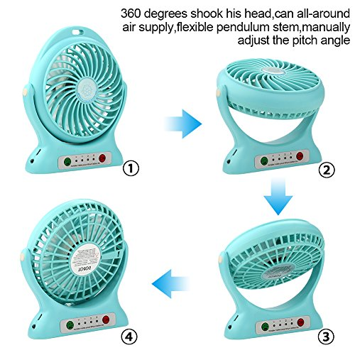 Accmor USB Mini Outdoor Portable Fan with Power Bank and LED Light Table Office Fan with 2000mAh Rechargeable Battery, Personal Portable Fan, Desktop Fan Blue by accmor (Image #3)