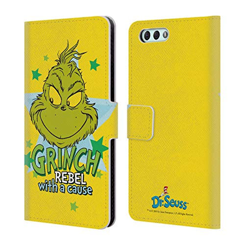 Official Dr. Seuss Rebel with A Cause Mean Grinch Leather Book Wallet Case Cover Compatible for Zenfone 4 ZE554KL