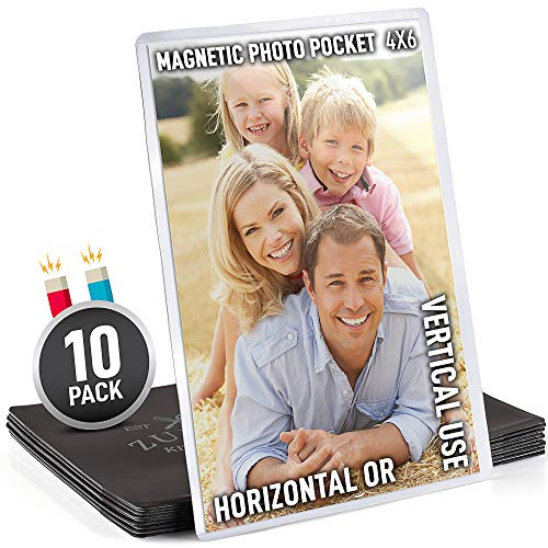 10 Pack 4x6 Magnetic Picture Frames for Refrigerator with 2x Thicker & Stronger Magnetic Flexible Frame Force - These Magnetic Picture Frames Actually Hold Strong - Powerful Fridge Photo Magnets - by