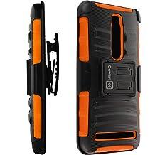 ZenFone 2 Case, CoverON® [Explorer Series] Tough Hybrid Armor Belt Clip Hard Phone Cover For Asus ZenFone 2 (5.5) Holster Case - Orange Black