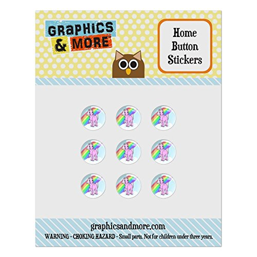 - Set of 9 Puffy Bubble Home Button Stickers Fit Apple iPod Touch, iPad Air Mini, iPhone 4/4s 5/5c/5s 6/6s Plus - Fantasy Creatures Dragon - Unicorn Pony Rainbow Pink