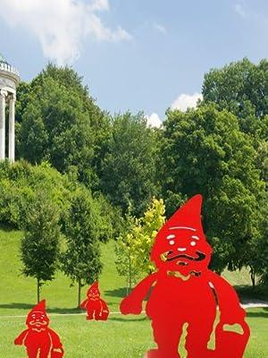 Gnomo de Jardín Enano Deco Jardín Enanos con Asador de Mr.Krieger en Color rojo Altura 27 cm: Amazon.es: Jardín