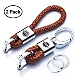 Goshion 2Pack Genuine Leather Car Logo Keychain Suit for Nissan Key Chain Keyring Family Present for Man and Woman