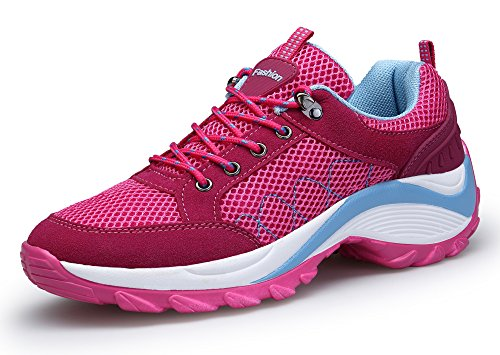 KOUDYEN Women's Mesh Platform Running Athletic Casual Lace up Comfortable Sports Shoes Sneaker Pink Lisdd