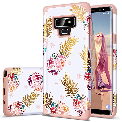 Fingic Galaxy Note 9 Case,Note 9 Case Pineapple,Floral Pineapple Ultra Slim Case Hard PC Soft Rubber Anti-Scratch Shockproof Protective Case Cover for Samsung Galaxy Note 9(2018 Release),Rose Gold