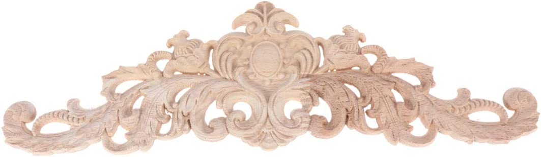 BESPORTBLE Wood Carved Onlay Applique Unpainted Decorative Light Door Decors Wall Decors for Cabinets Windows Cupboards Mirrors Furniture