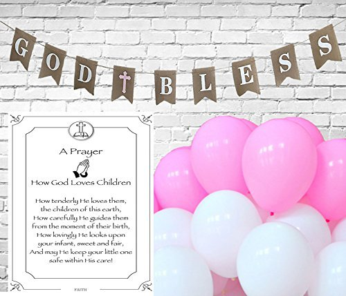 God Bless Burlap Banner for Girl First Holy Communion, Christening, Baptism Banner, Catholic Decorations - 8X6 Banner | All White letters with Pink Cross includes 3 White and 3 Pink Balloons & Strings