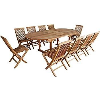 Salon de jardin en bois de TECK BRUT QUALITE GRADE A 10pers - Table ...