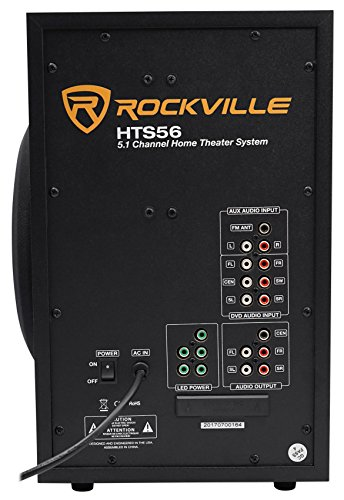 """Rockville HTS56 1000w 5.1 Channel Home Theater System/Bluetooth/USB+8"""" Subwoofer 3"""