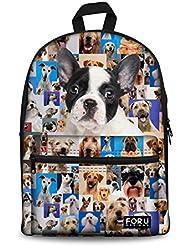 HUGS IDEA Dogs Puzzle Pattern Cute Kids Backpack School Bookbag