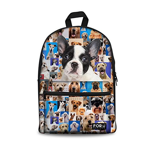 HUGS IDEA Cute Pet Dog Pattern Backpack for Teenagers Girls Primary Student Kids School Shoulder Bag £¨Boston Terrier£