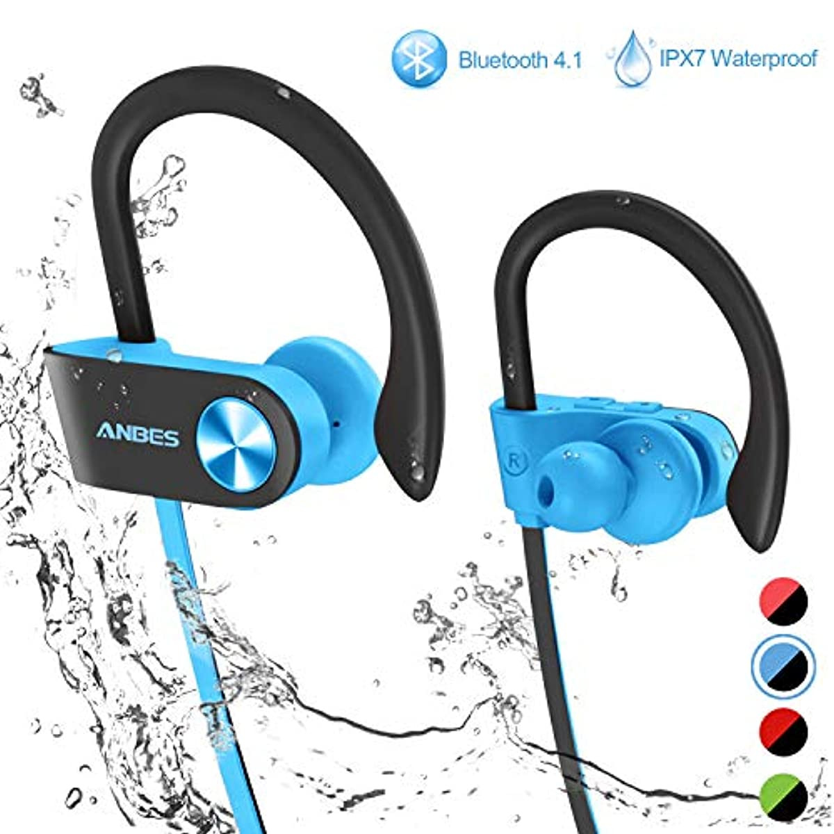 7130898627f Bluetooth Headphones,ANBES IPX7 Waterproof Wireless Earbuds,Sports Earbuds  with