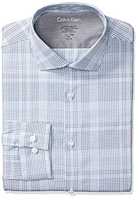 Calvin Klein Men's Dress Shirts Xtreme Slim Fit Thermal Stretch Plaid