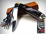 ELK RIDGE Brown Wood HOBO Tool Knife Fork Spoon Folding CAMP Utensil Tool