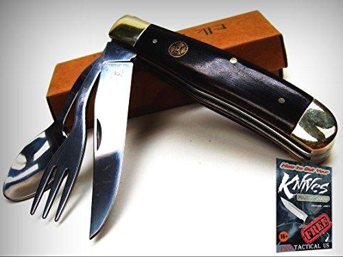 ELK RIDGE Brown Wood HOBO Tool Knife Fork Spoon Folding CAMP Utensil Tool ER439W + free eBook by ProTactical'US