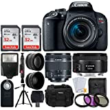 Canon EOS Rebel T7i DSLR Camera + EF-S 18-55mm f/4-5.6 is STM & EF 50mm f/1.8 STM Lens + 2X Telephoto & Wide Angle Lens + 64GB Memory Card + Slave Flash + Wireless Remote + Tripod + Accessories